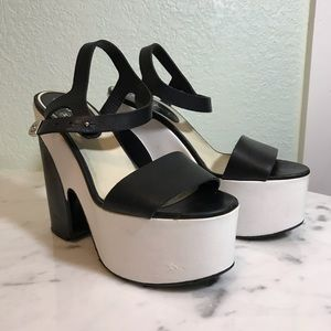CHANEL colorblock platform heels
